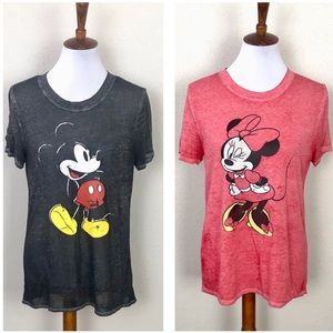 Disney Mickey & Minnie burnout T-shirt Bundle Lg